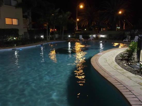 Sandcastles on the Broadwater: The Pool at night