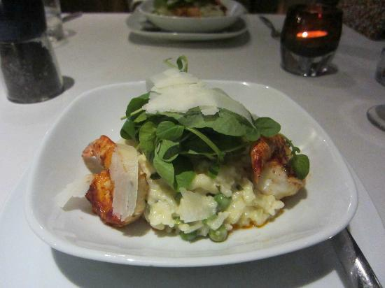 Hermosa : Grilled tiger prawn with mint lemon risotto, shared with my wife