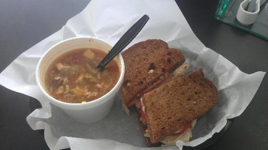 The Lunch Box : Half Roasted Turkey sandwich and Gumbo
