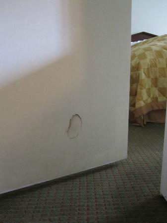 Lake Placid Summit Hotel: Hole in the door.