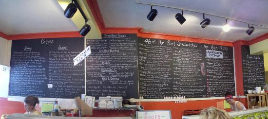 Big Mountain Deli and Creperie: The menu wall!