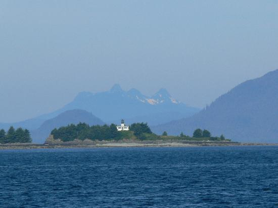 Guard Island Lighthouse with Harris Peaks in background