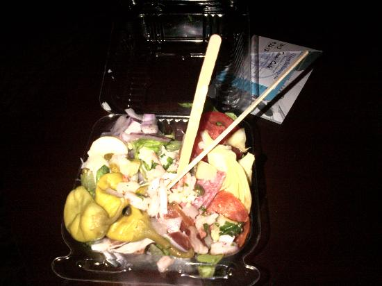 Bazbeaux Pizza: My salad - using the coffee stirs from the Hilton to eat it. Needless to say I gave up after a