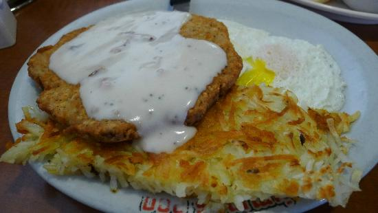Jimmy's Egg Restaurant: Chicken Fried Steak, hash browns and eggs at Jimmy's Egg