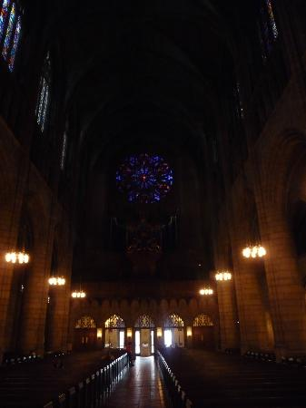 St. Thomas Church: Rose window and glass windows from inside the curch