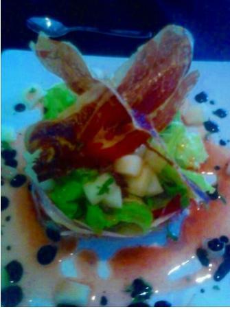 Restaurante Urbe: ensalada de melon y jamon con vinagreta de frutas