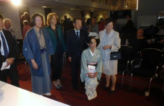 WestCord Hotel Delft: His excellency the Japanese ambassador Mr. Kouzuka and the deputy major in Delft Ms. Junius