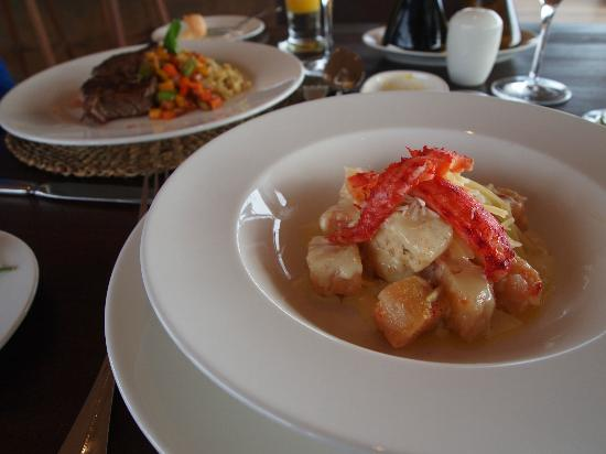 Tierra Patagonia Hotel & Spa: One of the great meals we had, a crab meat gnocchi in the foreground and steak behind.