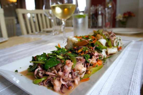 Yogi Chef: Grilled seafood - shrimp and grilled calamari on a bed of greens tossed with peppers and beans