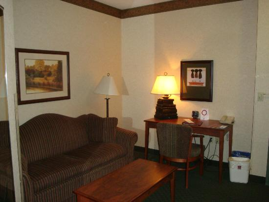 Comfort Suites Milwaukee Airport: Lounging area with workspace and TV