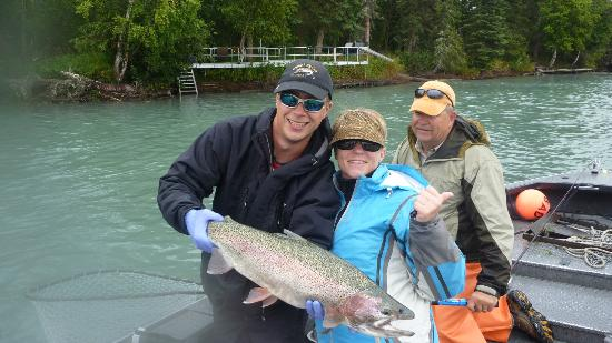 Tower Rock Lodge: Was I ever lucky to get this Rainbow!!  He was released....I just needed a photo first!