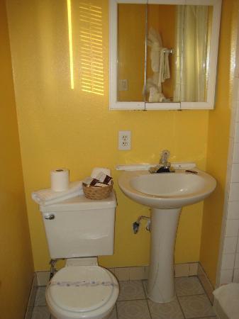 Oceanside Inn & Suites: Lille toilet med brus