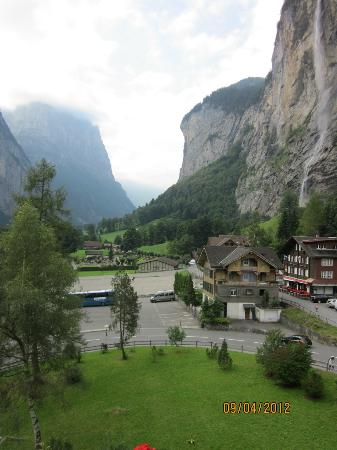 Hotel Staubbach: View of valley and falls from room