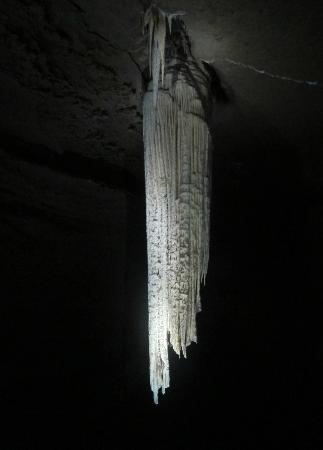 Doolin Cave : the Great Stalactite - a ghostly shape in the gloom