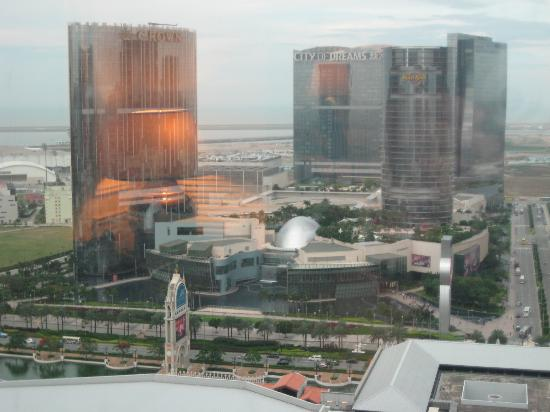 The Venetian Macao Resort Hotel: View of City of Dreams complex from our room
