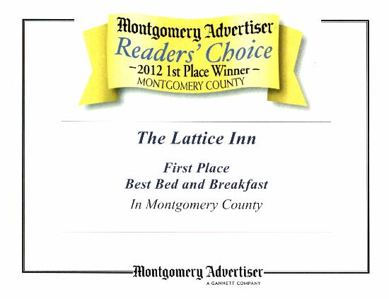 The Lattice Inn: Winner of the Best B & B in Montgomery, 2012!