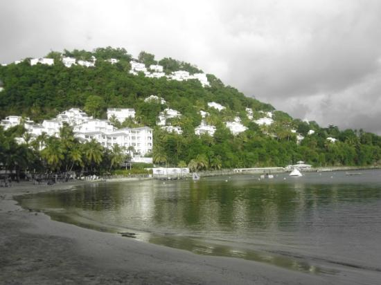 Windjammer Landing Villa Beach Resort: those are the hotel rooms nestled in the cliff side, gorgeous!