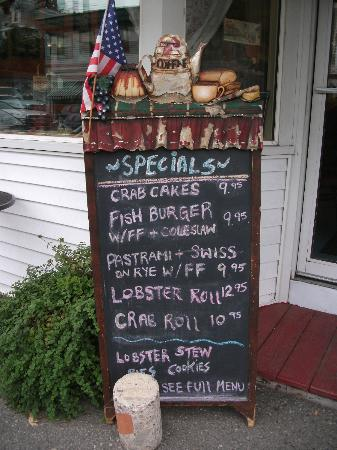 Southwest Harbor, ME: Le menu du jour