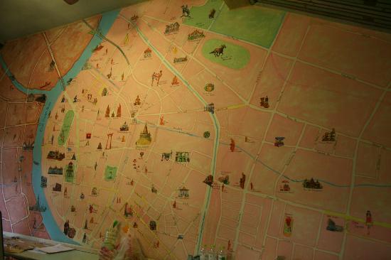 Phranakorn-Nornlen Hotel: Mapa mural en recepción que usa el personal para enseñarte BKK