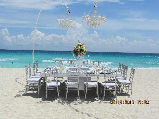 Secrets The Vine Cancun Wedding Set Up On Beach