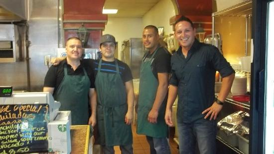 Taqueria Los Compadres: Owner/manager Carlos, and his friendly team of compadres!