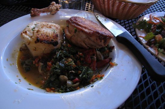 Sweet Pea Market and Restaurant : Roast chicken with potatoes au gratin. Sauteed greens.