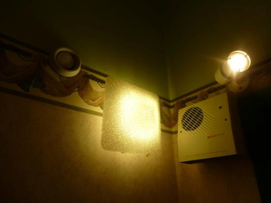 Damons Hotel: Shower room lights and extractor