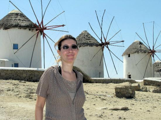 Alexandros Mykonos: Maria in front of the windmills of the main town of Mykonos