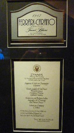 Ferrari-Carano Winery: White house menu