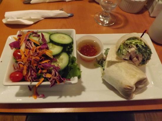 Green Door Cafe: Chicken Caesar Wrap with Garden Salad