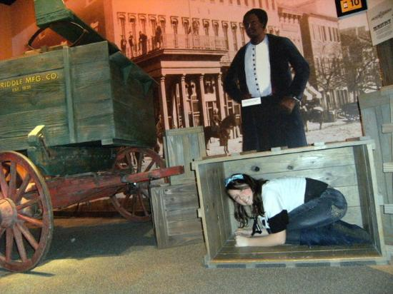 """National Underground Railroad Freedom Center: My granddaughter got to """"feel"""" what it was like to hide in a box to escape slavery."""