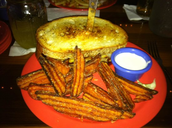 "A'Dam Good Bar & Grill'd: The ""Big Kahuna"" with Sweet Potato Fries and marshmallow dip"