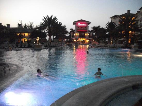 Beaches Turks and Caicos Resort Villages and Spa: Italian village pool at dusk