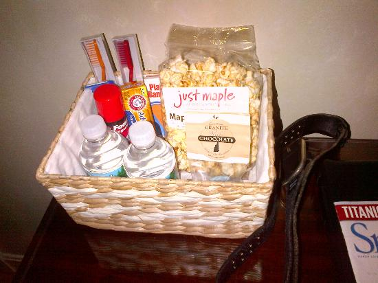 The Lake House at Ferry Point: in-room welcome basket with snacks, necessities