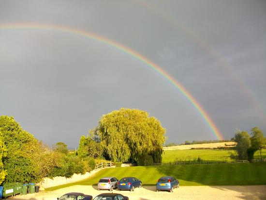 Northover Manor Hotel: Rainbow over fields at the back of the hotel