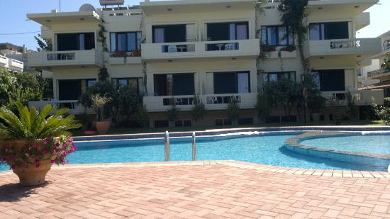 Lefka Apartments: view from pool area of apartments