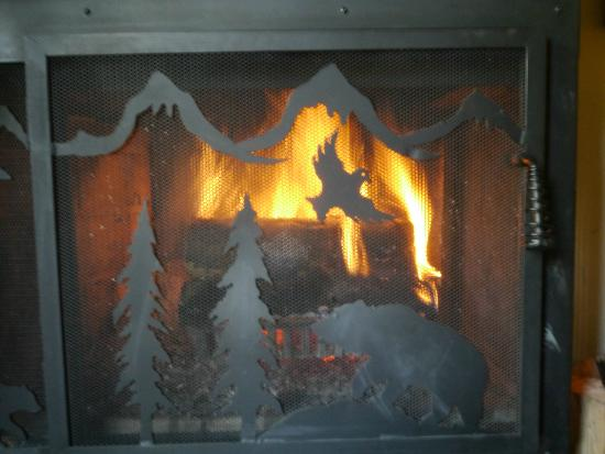 Moraine Lake Lodge: Log fire in our room