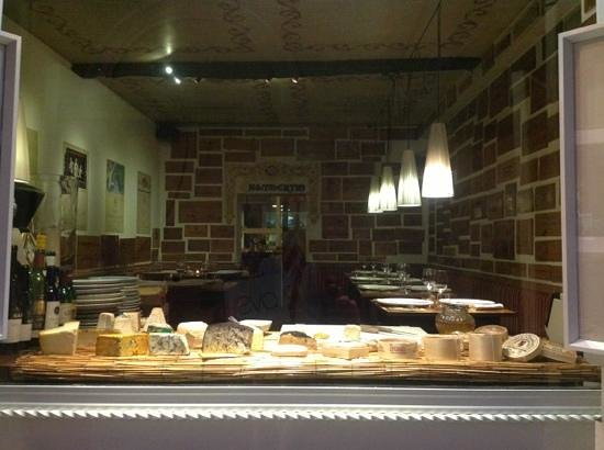 Al Bric: cheese display in front window