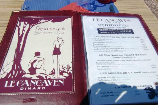 Mooie en kunstzinnige menukaart van Restaurant Le Cancaven in Dinard