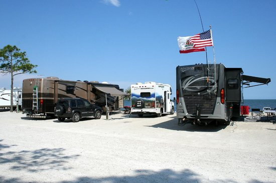 Carrabelle, FL: Our small RV at the waterfront site,