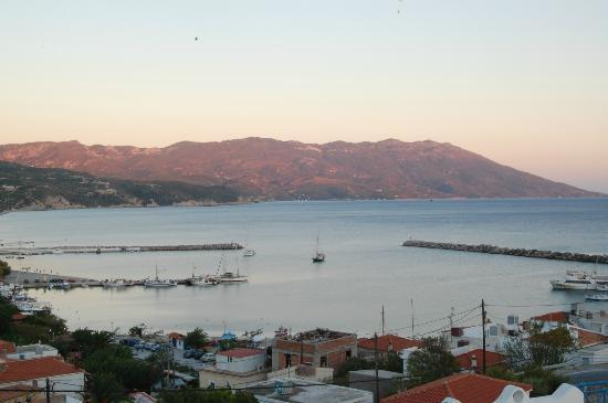 View from Pavlis studios over Ormos harbour at dusk