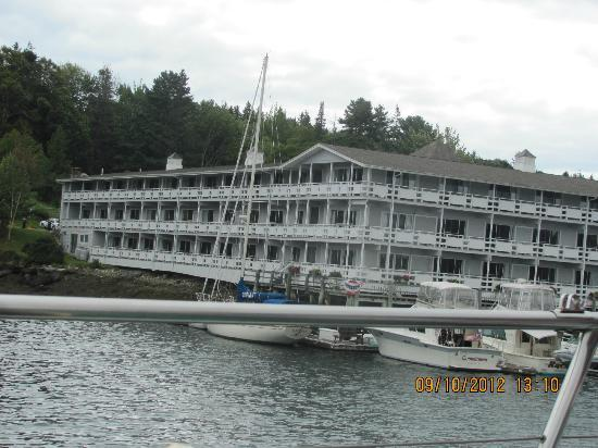 Brown's Wharf Inn: view of hotel from boat ride in harbor