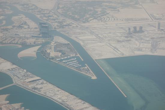 The Ritz-Carlton, Doha: The Ritz from the plane on our way home...