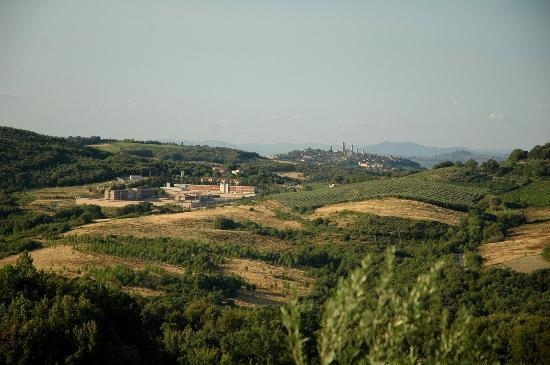 Antico Borgo il Cardino: Uitzicht richting San Gimignano vanaf zwembad