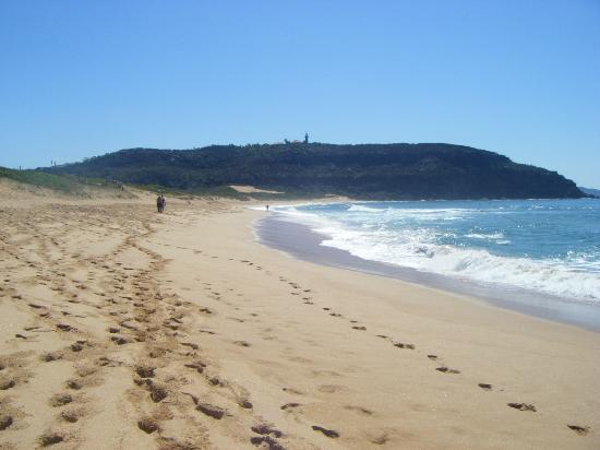 The beach side of Palm Beach, including the Barrenjoey lighthouse on top of the hill