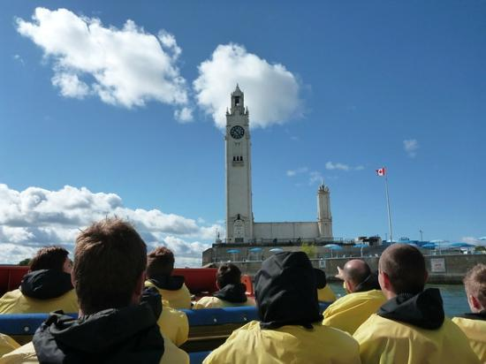 Saute-Moutons Jet Boating: the clock tower on the way out of the harbor