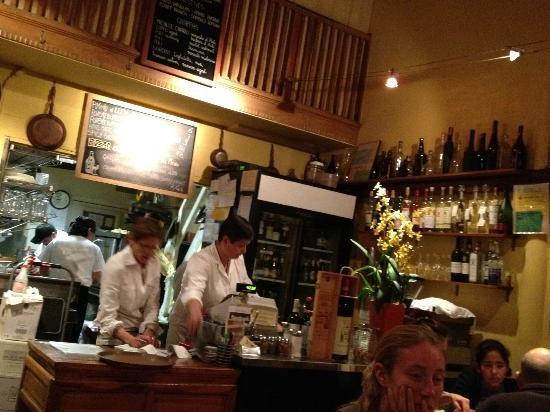 L'Osteria del Forno: bar/cash register/kitchen in back
