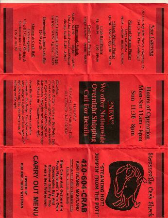 Stevensville Crab Shack: Menu...side 1 (cut off?)