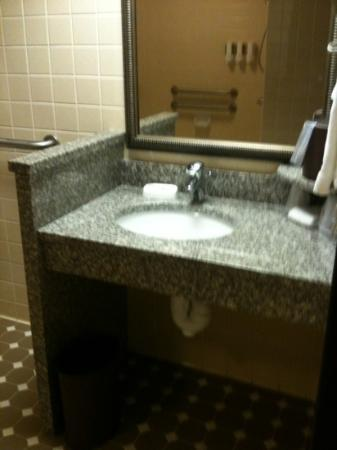 Drury Inn Mobile: the short sink that comes up to my crotch. i didnt ask for handicap room.