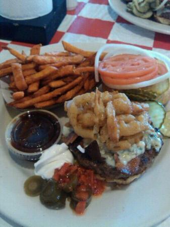 Johnny Angel's Heavenly Hamburgers: Angel Burger and sweet potato fries
